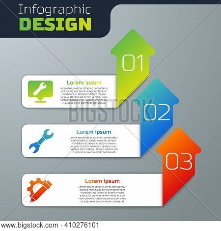 Set Location With Wrench Spanner, Wrench Spanner And Pencil And Gear. Business Infographic Template.