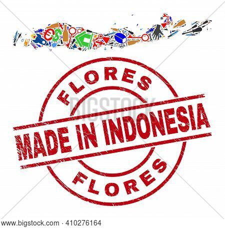 Component Flores Islands Of Indonesia Map Mosaic And Made In Distress Stamp Seal. Flores Islands Of