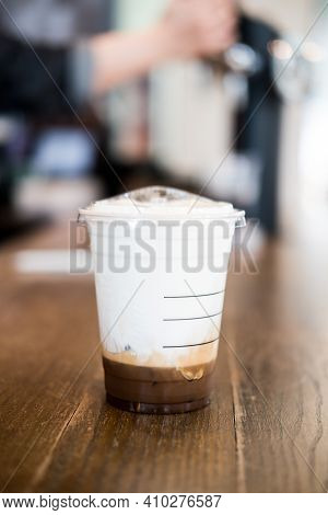 Bangkok, Thailand - February 28, 2021: New Beverage For Starbucks Coffee Shop, Iced Salted Caramel C