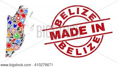 Engineering Belize Map Mosaic And Made In Distress Stamp Seal. Belize Map Mosaic Designed With Spann