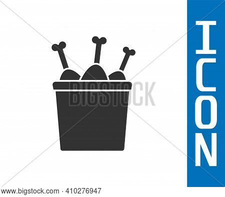 Grey Chicken Leg In Package Box Icon Isolated On White Background. Chicken Drumstick. Vector Illustr