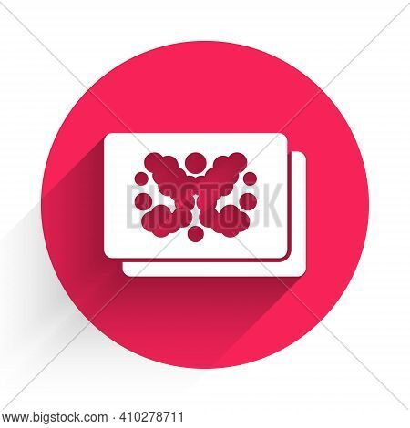White Rorschach Test Icon Isolated With Long Shadow. Psycho Diagnostic Inkblot Test Rorschach. Red C