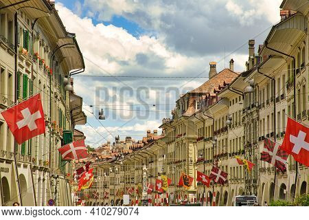 Bern, Switzerland - Aug 23, 2020: Kramgasse Street With Swiss Flags And Bern Town Flags In Rows In C