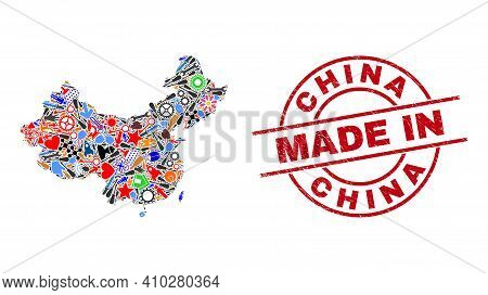 Science China Map Mosaic And Made In Scratched Seal. China Map Composition Composed With Wrenches, G
