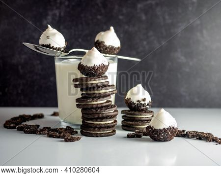Cookies & Cream Cake Balls, Truffle Like Dessert With A Fresh Glass Of Cold Milk, A Silver Spoon, Ch