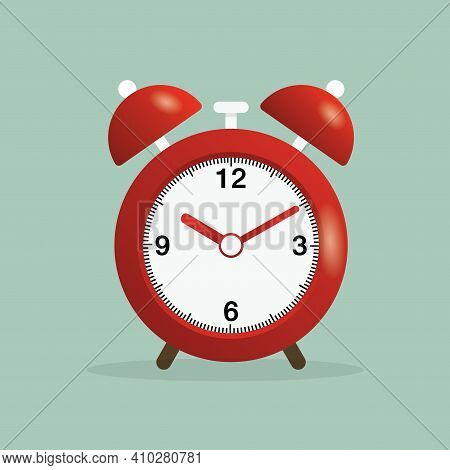 Retro Clock Design Concept. Red Alarm Clock Is Ringing. Retro Alarm Clock. Illustration Of Alarm Clo