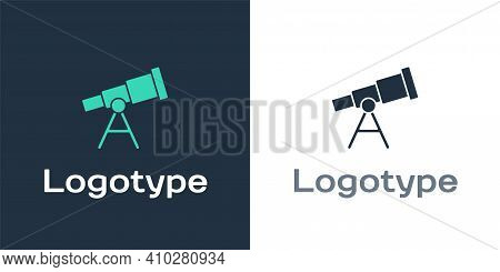 Logotype Telescope Icon Isolated On White Background. Scientific Tool. Education And Astronomy Eleme