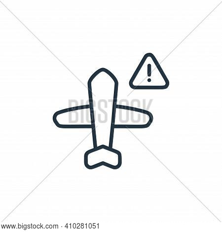 no flight icon isolated on white background from covid collection. no flight icon thin line outline