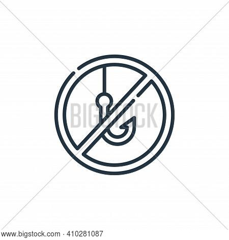 no fishing icon isolated on white background from signals and prohibitions collection. no fishing ic
