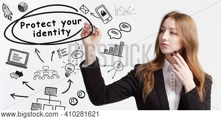 Business, Technology, Internet And Network Concept. Young Businessman Thinks Over Ideas To Become Su