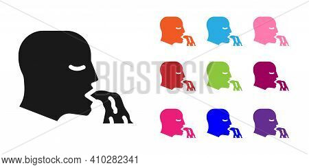 Black Vomiting Man Icon Isolated On White Background. Symptom Of Disease, Problem With Health. Nause