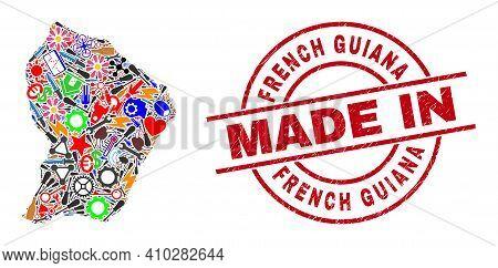 Development Mosaic French Guiana Map And Made In Textured Stamp. French Guiana Map Mosaic Composed F