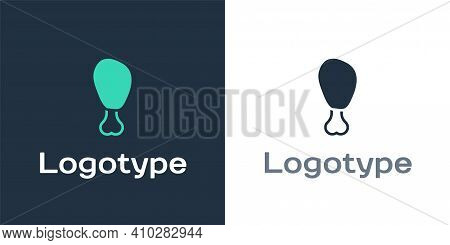 Logotype Chicken Leg Icon Isolated On White Background. Chicken Drumstick. Logo Design Template Elem