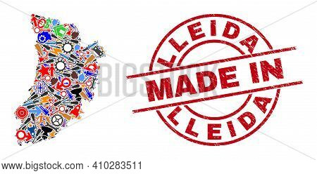 Service Mosaic Lleida Province Map And Made In Distress Rubber Stamp. Lleida Province Map Abstractio