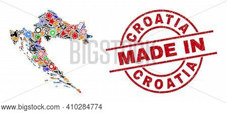 Industrial Mosaic Croatia Map And Made In Grunge Stamp Seal. Croatia Map Mosaic Designed With Spanne
