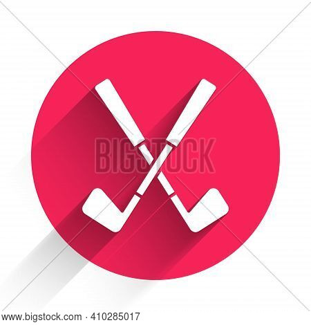 White Crossed Golf Club Icon Isolated With Long Shadow. Red Circle Button. Vector