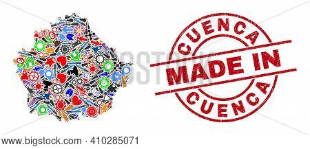 Service Cuenca Province Map Mosaic And Made In Textured Stamp Seal. Cuenca Province Map Mosaic Compo