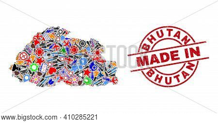 Service Bhutan Map Mosaic And Made In Grunge Seal. Bhutan Map Mosaic Created With Wrenches, Wheels,