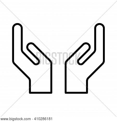 Hope Icon, Human Hand With Empty Symbol, Help And Protection Graphic Design, Support Vector Illustra