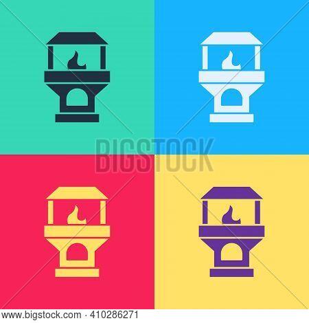 Color Brick Stove Icon Isolated On White Background. Brick Fireplace, Masonry Stove, Stone Oven Icon
