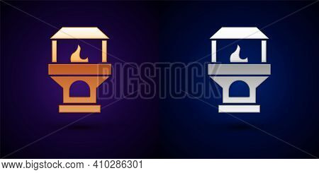 Isometric Brick Stove Icon Isolated On Orange And Pink Background. Brick Fireplace, Masonry Stove, S