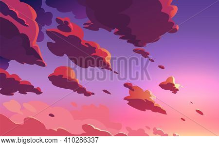 Beautiful Sunset Sky, Clouds With Dramatic Light. Sundown With Colorful Violet Pink Clouds. Cartoon