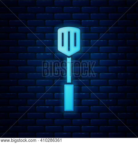 Blue Barbecue Spatula Icon Isolated Seamless Pattern On Red Background. Kitchen Spatula Icon. Bbq Sp