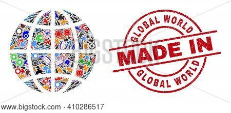 Technical Mosaic Planet Globe And Made In Textured Rubber Stamp. Planet Globe Mosaic Composed With W