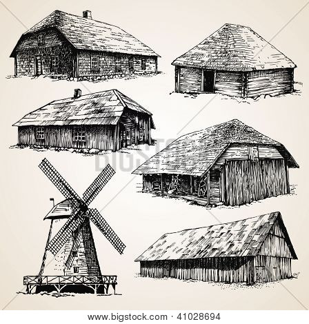 Drawings of old wooden buildings