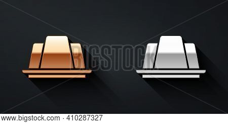 Gold And Silver Jelly Cake Icon Isolated On Black Background. Jelly Pudding. Long Shadow Style. Vect