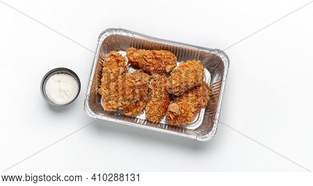 Tasty Menu And Junk Meal, Home Delivery And Modern Fast Food. Delicious Fresh Chicken Wings In Batte