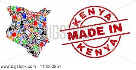 Industrial Kenya Map Mosaic And Made In Distress Rubber Stamp. Kenya Map Abstraction Created With Wr