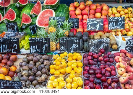 Big Choice Of Exotic Fruits For Sale At A Market