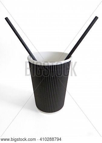 Disposable Cup Black And White Interior With Two Black Straws Isolated On White Background. Front Vi