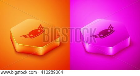 Isometric Helmet With Wings Icon Isolated On Orange And Pink Background. Greek God Hermes. Hexagon B