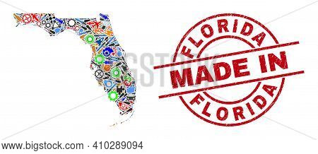 Industrial Mosaic Florida State Map And Made In Grunge Rubber Stamp. Florida State Map Mosaic Formed