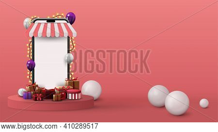 Template With Volumetric Smartphone With Blank Screen, Presents And 3D Spheres On Pink Background. 3