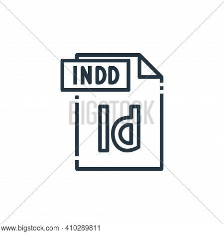 indd file icon isolated on white background from file type collection. indd file icon thin line outl