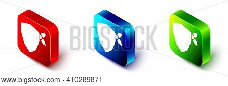 Isometric Vandal Icon Isolated On White Background. Red, Blue And Green Square Button. Vector