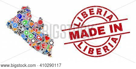 Industrial Liberia Map Mosaic And Made In Scratched Stamp Seal. Liberia Map Collage Designed With Wr