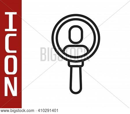 Black Line Magnifying Glass For Search A People Icon Isolated On White Background. Recruitment Or Se
