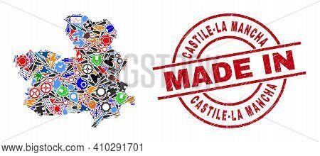 Development Castile-la Mancha Province Map Mosaic And Made In Textured Stamp. Castile-la Mancha Prov