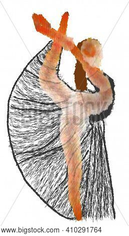 Ballerina In A Pose. Watercolor Style Drawing Of A Ballerina.