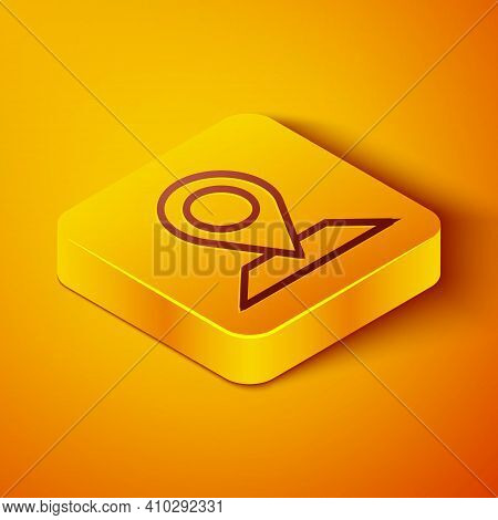 Isometric Line Map Pin Icon Isolated On Orange Background. Navigation, Pointer, Location, Map, Gps,