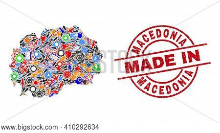 Component Macedonia Map Mosaic And Made In Distress Rubber Stamp. Macedonia Map Collage Composed Wit