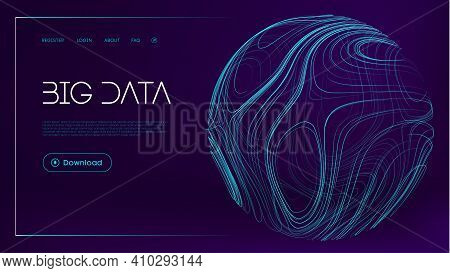 Abstract Sphere Energy Field. Blue Sphere Shield On Blue Background. Data Protect Digital Illustrati