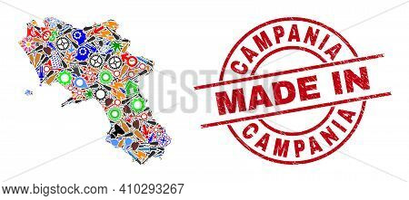 Component Campania Region Map Mosaic And Made In Scratched Stamp Seal. Campania Region Map Collage C