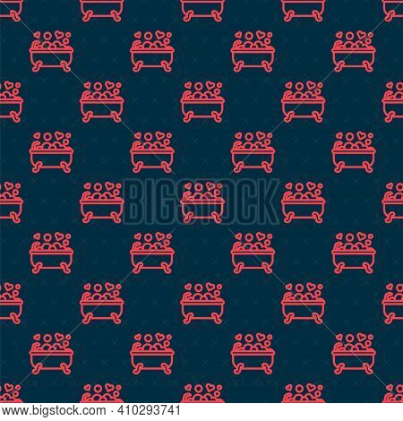 Red Line Romantic In Bathroom Icon Isolated Seamless Pattern On Black Background. Concept Romantic D