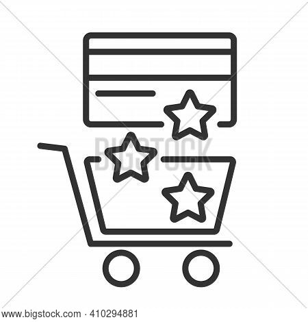 Reward Icon For Purchases From A Credit Card In Stores. Star Bonuses Are Poured From The Bank Card I