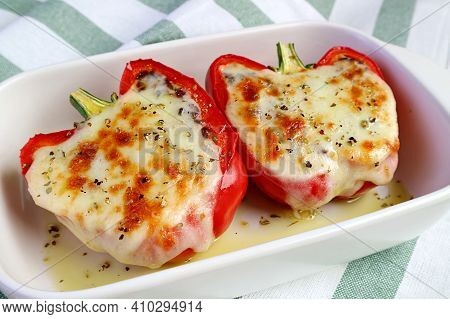 Fresh Cooked Delectable Homemade Stuffed Bell Peppers With Melting Cheese